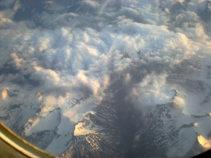 Our first glimpse of Alaska from the plane.