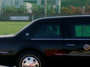 A closer image of President Obama in his car as he passed through Yongsan.