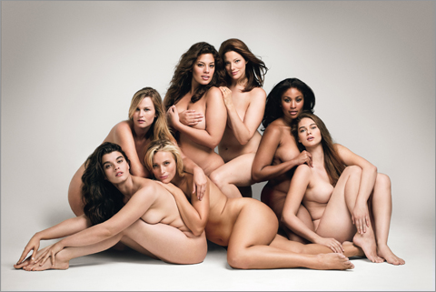 Seven nude women, one black, and the others of unidentifiable race/ethnicity.