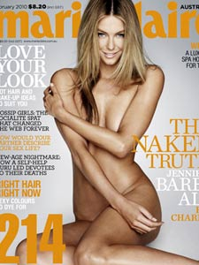 Jennifer Hawkins, a white, blonde, thin woman, nude on the cover of Marie Claire magazine.