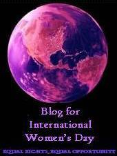 "A pink and purple colored globe over the title ""Blog for International Women's Day""."
