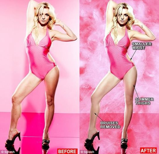 Britney Spears, a white woman with blonde hair in a pink bathing suit and black high heeled shoes in a before and after photo shop shot, showing her waist slimmed, her thighs slimmed, and her bruises removed from her shins.