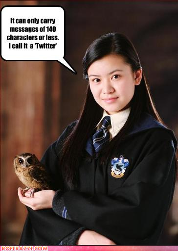 "Katie Leung as Cho Chang holding a tiny owl. Text bubble reads ""It can only carry messages of 140 characters or less. I call it 'Twitter'."""