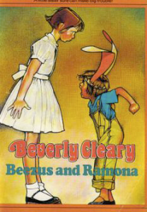 Book cover of Beezus and Ramona by Beverly Cleary. Features a taller pale girl in a knee lengthed white dress looking down and over a shorter pale girl seemingly throwing a tantrum, in overalls, a t-shirt, and paper bunny ears.