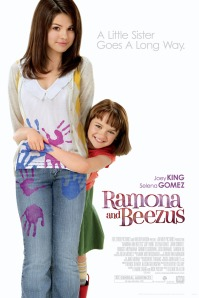 Movie poster for Ramona and Beezus, with Selena Gomez and Joey King. King has paint covered hands wrapped in a hug around Gomez' waist.