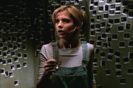 Sarah Michelle Gellar as Buffy, a pale woman in a lavendar shirt and denim ovealls with blonde hair. She is in a dark room with plaster walls, covered in tiny Poloroid photos.