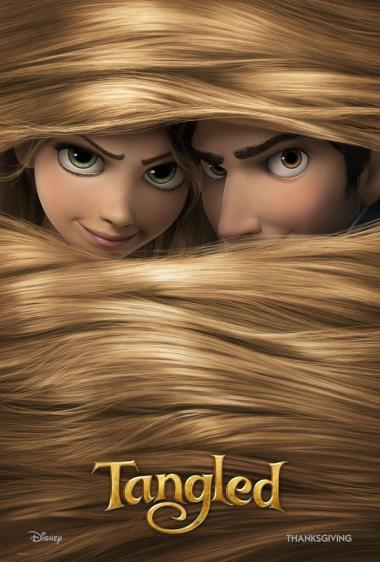 "Movie poster for U.S. release of Disney's ""Tangled"". Two pale faces peek out of a mass of blonde hair, one with green eyes, one with brown. Golden letters at the bottom spell ""Tangled""."